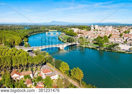 Rhone River Aerial Panoramic View In Avignon. Avignon Is A City On The Rhone River In Southern Franc