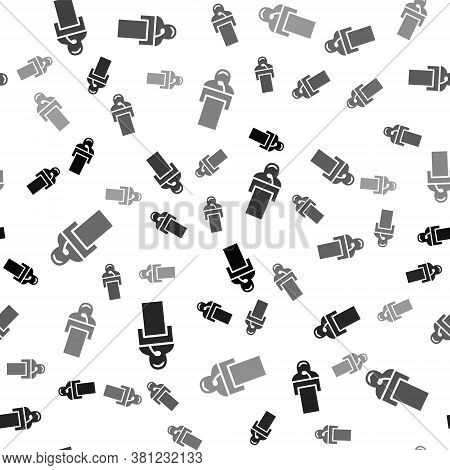 Black Gives Lecture Icon Isolated Seamless Pattern On White Background. Stand Near Podium. Speak Int