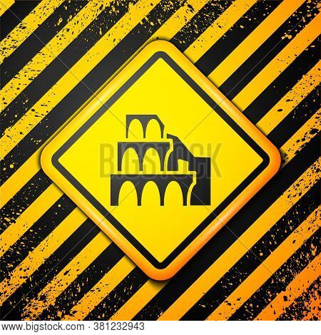 Black Coliseum In Rome, Italy Icon Isolated On Yellow Background. Colosseum Sign. Symbol Of Ancient