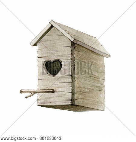 Wooden Birdhouse Watercolor Illustration. Hand Painted Bird House Image With Heart Shape Entrance. W