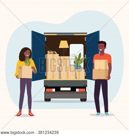 Things In Box In The Trunk Of The Truck. Afro American Man And Woman Hold Boxes. Moving House. Vecto