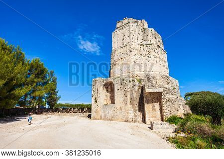 La Tour Magne Tower Is A Roman Monument Located In Nimes City In Southern France