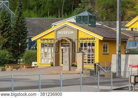 Flam, Norway - July 31, 2018: Railway Museum. At The Station Of Flamsbana Railway Line Between Myrda