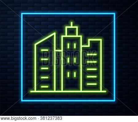 Glowing Neon Line City Landscape Icon Isolated On Brick Wall Background. Metropolis Architecture Pan