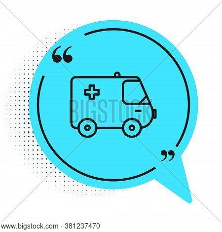 Black Line Ambulance And Emergency Car Icon Isolated On White Background. Ambulance Vehicle Medical
