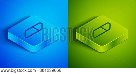 Isometric Line Eraser Or Rubber Icon Isolated On Blue And Green Background. Square Button. Vector Il