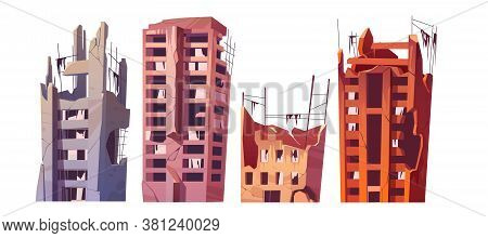Destroyed City Buildings After War Or Natural Disaster. Vector Cartoon Set Of Abandoned Broken House
