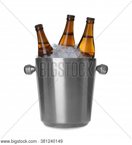 Metal Bucket With Beer And Ice Cubes Isolated On White