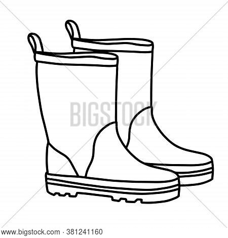 Rubber Boots Isolated On A White Background.autumn Shoes To Walk In Puddles. Water-resistant Boots.