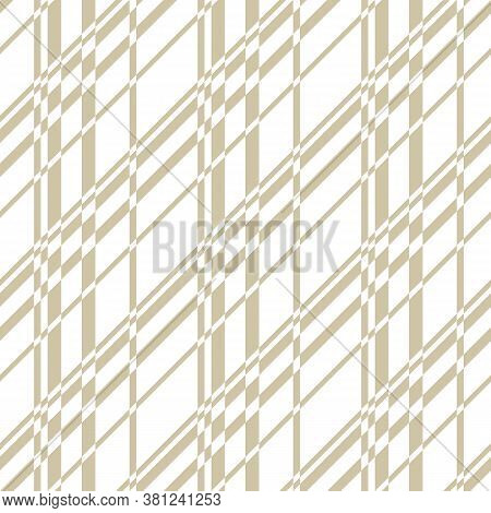 Golden Vector Seamless Pattern With Cross Lines, Stripes, Grid, Lattice, Mesh, Net. Simple Gold And