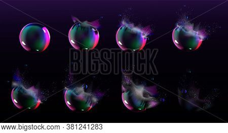 Soap Bubble Burst Sprites For Game Or Animation. Vector Storyboard Of Realistic Water Sphere Explosi