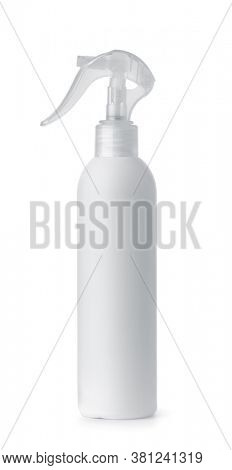 Side view of white plastic trigger spray bottle isolated on white