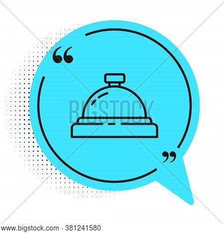 Black Line Hotel Service Bell Icon Isolated On White Background. Reception Bell. Blue Speech Bubble
