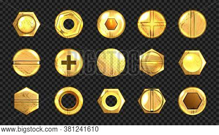 Old Screw And Nail Heads Set, Golden Metal Bolts, Grunge Rusty Rivets Hardware Yellow Caps With Groo