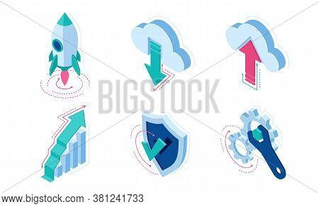 Isometric Icons Rocket Take Off, Cloud Download Or Upload Data, Grow Arrow Column Chart, Shield With