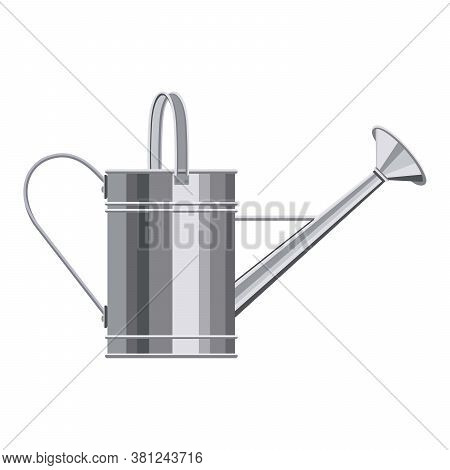 Watering Can With Handle And Long Spout Flat Illustration. Garden Tools