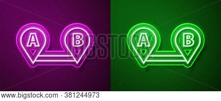 Glowing Neon Line Route Location Icon Isolated On Purple And Green Background. Map Pointer Sign. Con