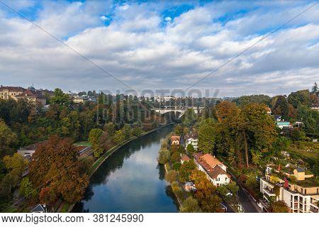 Beautiful View Of Aare River In Bern From Kornhausbrücke (kornhaus Bridge) With  Lorrainebrücke (lor