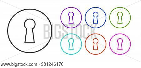Black Line Keyhole Icon Isolated On White Background. Key Of Success Solution. Keyhole Express The C