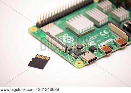 Kiev, Ukraine - August 13th, 2020: Prototyping Board Raspberry Pi 4 With Aluminum Air-cooled Heatsin