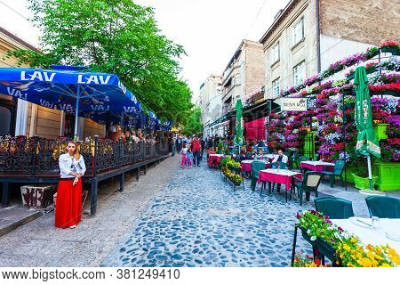 Belgrade, Serbia - May 16, 2013: Street Cafe And Restaurant At Skadarlija, A Vintage Street In Stari