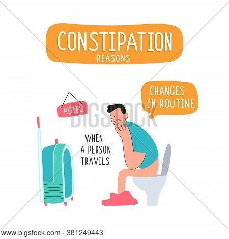 A Man Sits On The Toilet And Looks At The Suitcase. Constipation In A Person Traveling Due To Climat