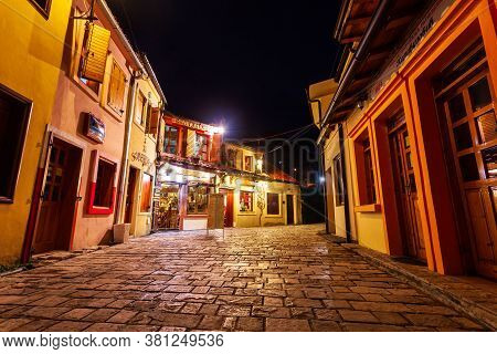 Bar, Montenegro - May 25, 2013: Cafe And Restaurant At The Main Street Of Stari Grad Bar Or Old Town