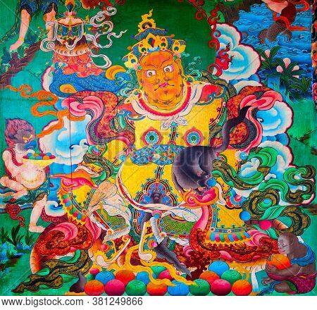 Kathmandu, Nepal - March 01, 2014: Buddhist Painting Inside The Boudhanath Temple In Kathmandu City