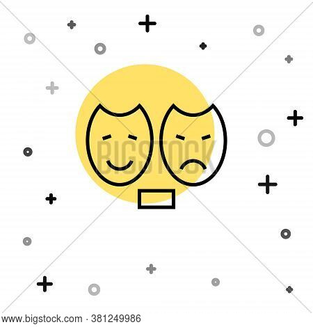 Black Line Comedy And Tragedy Theatrical Masks Icon Isolated On White Background. Random Dynamic Sha