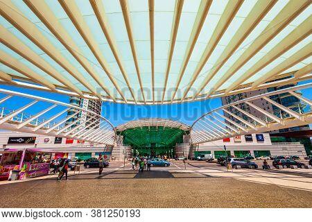 Lisbon, Portugal - June 26, 2014: Vasco De Gama Shopping Mall And Gare Do Oriente Train Station In L