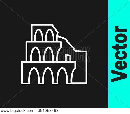 White Line Coliseum In Rome, Italy Icon Isolated On Black Background. Colosseum Sign. Symbol Of Anci