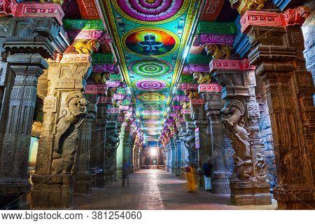 Madurai, India - March 23, 2012: The Thousand Pillar Hall Inside Meenakshi Temple, A Historic Hindu