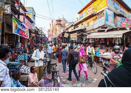 Agra, India - April 10, 2012: A Lot Of Garbage On The Street In Agra City, Uttar Pradesh State Of In