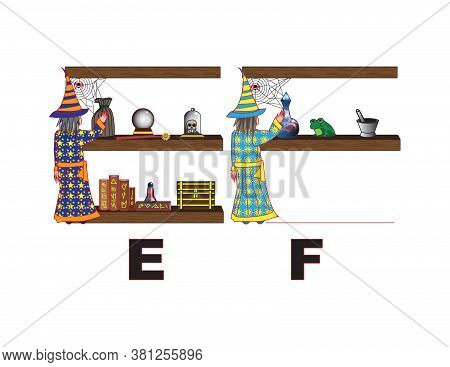 Angry Wizard Art Letters Alphabet E F