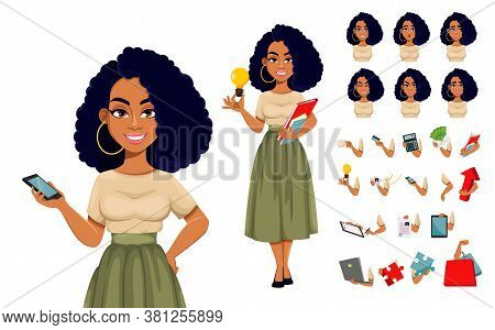 Beautiful African American Business Woman Having A Rest, Pack Of Body Parts, Emotions And Things. Cu