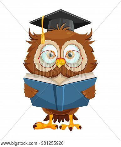 Cute Wise Owl Reading Book. Funny Owl Cartoon Character, Back To School Concept. Vector Illustration