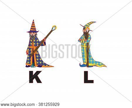 Angry Wizard Art Letters Alphabet K L