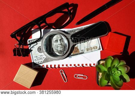 A Magnifying Glass On Paper On A Red Background, A Dollar Bill Under A Magnifying Glass, A Plant Nea