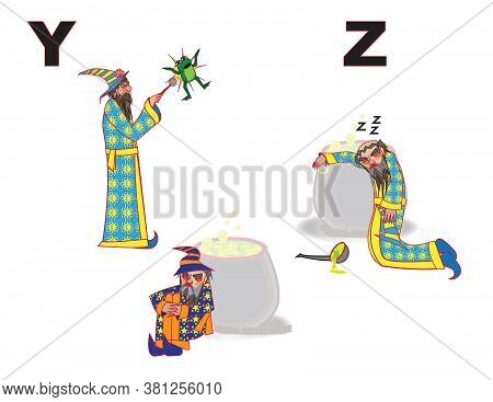 Angry Wizard Art Letters Alphabet Y Z