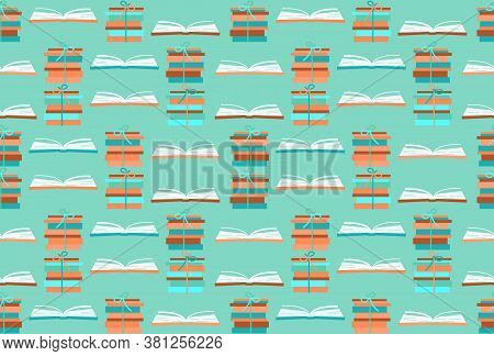 Books Open For Reading And Learning, Stacks Of Books. Back To School Seamless Pattern. Trendy Colors