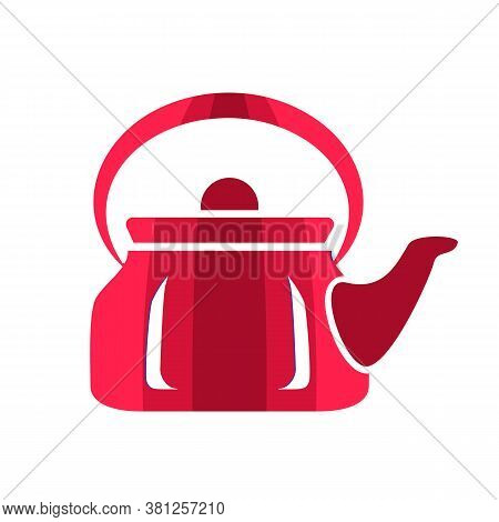Teapot Steel Vector Icon Flat Style. Red Kettle On Isolated Background. Warm Comfort In Your Home. V