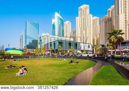 Dubai, Uae - February 25, 2019: Jbr Or Jumeirah Beach Residence Is A Waterfront Community Located In