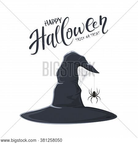 Halloween Theme. Black Witch Hat With Spider On Spiderweb Isolated On White Background. Text Happy H