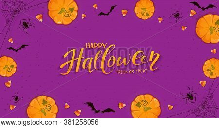 Pumpkins On Purple Halloween Background With Candies, Bats And Spiders. Card With Jack O' Lanterns A