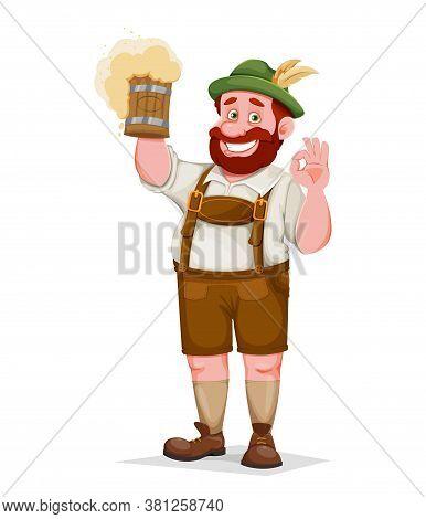 Man In Bavarian Clothes, Funny Cartoon Character. Munich Beer Festival Oktoberfest. Vector Illustrat