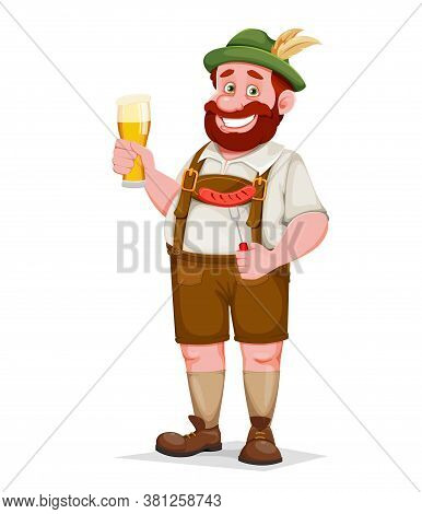 Man In Bavarian Clothes Holding Beer And Fried Sausage, Funny Cartoon Character. Munich Beer Festiva