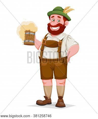 Man In Bavarian Clothes Holding Beer, Funny Cartoon Character. Munich Beer Festival Oktoberfest. Vec