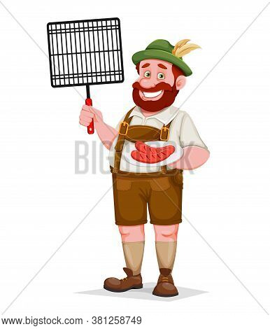 Man In Bavarian Clothes Holding Barbeque Grid And Fried Sausage, Funny Cartoon Character. Munich Bee