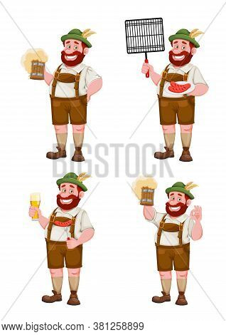Man In Bavarian Clothes, Funny Cartoon Character, Set Of Four Poses. Munich Beer Festival Oktoberfes