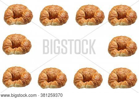 Croissant. Butter Croissant. Picture Frame With Fresh Baked Croissants. Isolated on white. Room for text. Backgrounds and Textures.